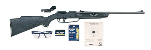 Daisy 880 Powerline Air Rifle 177BB 177PEL 750 Black Synthetic Glasses, Targets, Pellets, 4x15 Scope Clam Pack 1 Single Shot 588