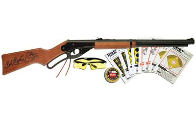 Daisy 1938 Red Ryder Air Rifle 177BB 280 Blue Wood Lever Action Glasses, Targets, Pellets Clam Pack 1 650BB 9938