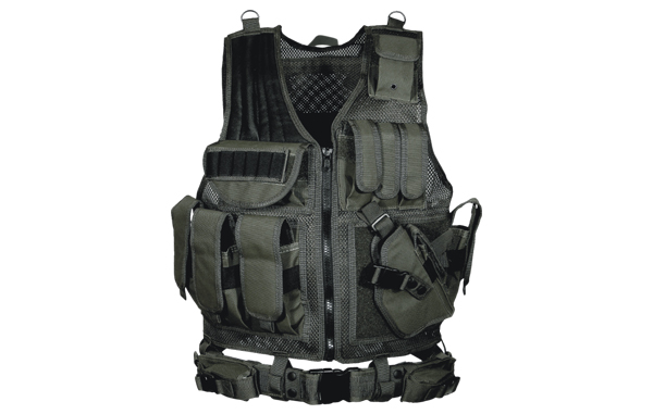 UTG Deluxe Tactical Vest w/ Holster, Pouch and Belt - Black