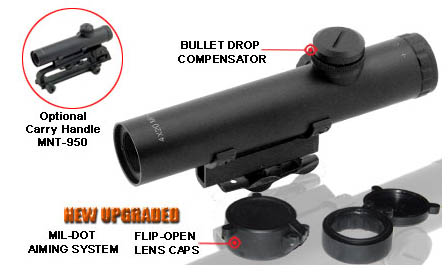 UTG 4x20 Mini Size AR-15 / M-4 Range Estimating Mil-Dot Scope